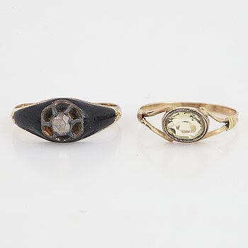 Rose-cut diamond enamel ring and citrine ring.