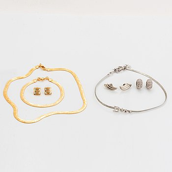 Givenchy set, earrings, bracelet and necklace with box.