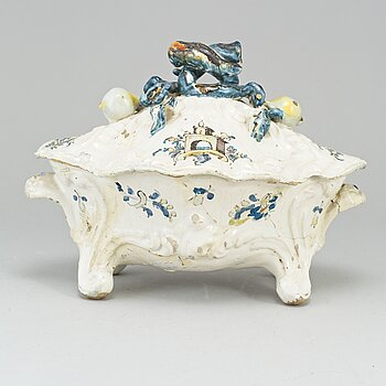 A faience tureen, probably french 18th Century.