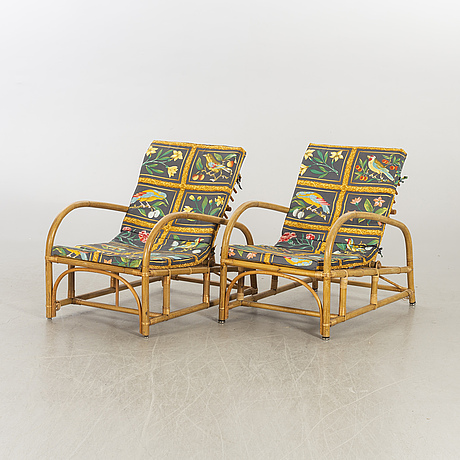 A pair of easy chairs mid 20th century.
