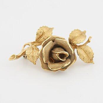 18K gold rose brooch.