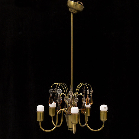 A swedish modern brass ceiling light, 1940's.