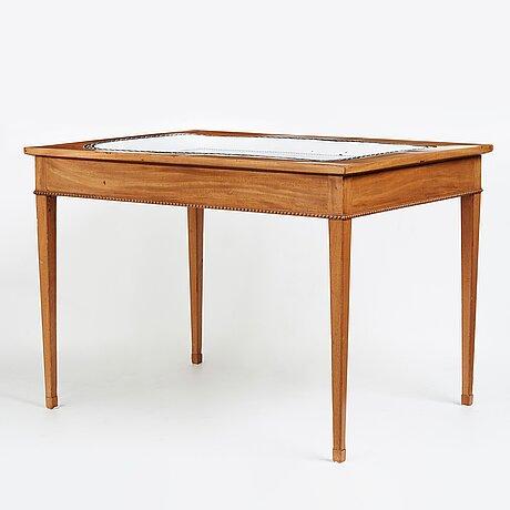 A late gustavian 18th century faience tea table.