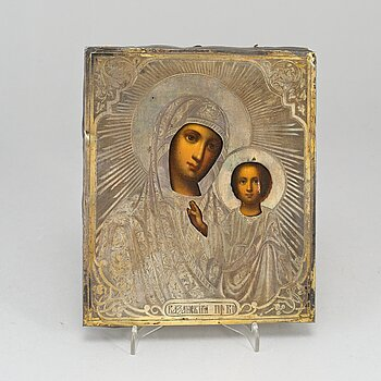 A Russian Icon with Mary and Jesus, ochlad/rizza in silver, Marked Moscow, 1860-tal.