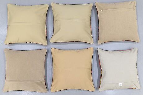 Six kilim cushions, approx, ca 50 x 50 cm.