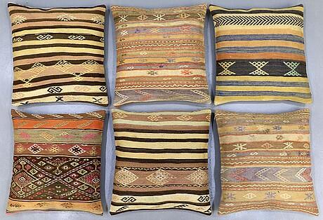 Six kilim cushions, ca 60 x 60 cm.