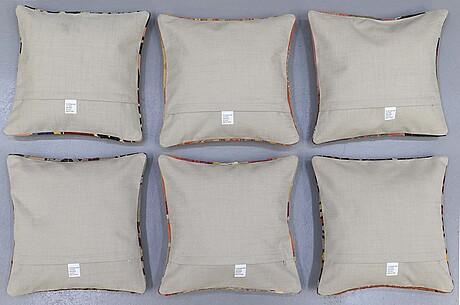 Kuddfodral, 6 st, kelim, anatoliska, ca 40 x 40 cm.