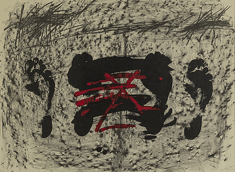 Antoni tÀpies, lithograph with hand coloring, signed tàpies and numbered 39/100 in pencil.