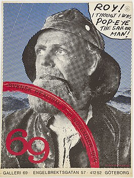 KJARTAN SLETTEMARK and STURE JOHANNESSON, poster, offset in colours, Galleri 69, Gothenburg, 1974.