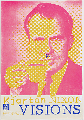Kjartan slettemark, poster, offset in colours, norrköpings museum, 1973.