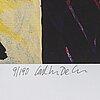 Carl johan de geer, färglitografi, signerad 9/190.