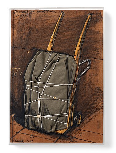 """Christo & jeanne-claude, """"package on a hand truck (project)"""", 1973."""