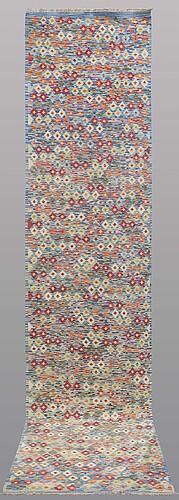 A runner, kilim, ca 393 x 89 cm.