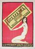 """Affischer, 2 st, tryck, """"lotteriet för de svenska konstidkarne"""" resp """"journalistlotteriet"""", sign kåge i trycket, troligen 1920-tal."""