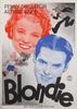 """Affischer, 2 st, tryck, """"blondie"""" resp """"på hal is"""", sign rohman i trycket, stockholm 1938."""