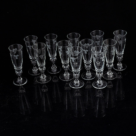 12 champagne glasses.
