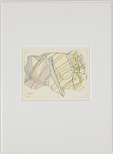 Sten eklund, etching with watercolour, signed in plate.