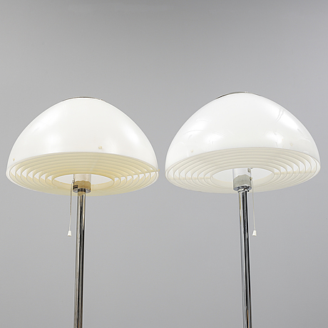Hans-agne jakobsson, a pair of chrome floor lights from markaryd.