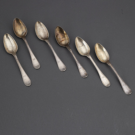 6 swedish silver spoons, early 19th century.