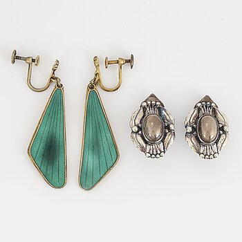 Two pair of earrings, silver and enamel, one pair Georg Jensen.
