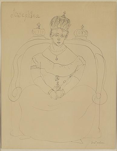 Ernst josephson, ink drawing, signed.