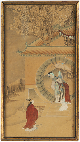 A japanese painting, ink and colour on paper, late 19th century.