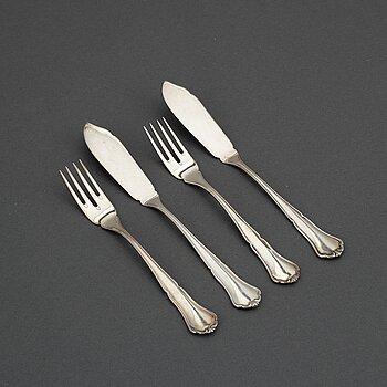 A 'Hansa' silver cutlery, CG Hallberg Stockholm, some 1961. (24 pc).