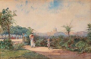 337. Regina Kylberg-Bobeck, Parklandskap med vy över Peterskyrkan i Rom.
