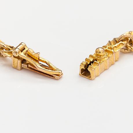 "Björn weckström, a 14k gold bracelet ""bird tracks"". lapponia 1992."