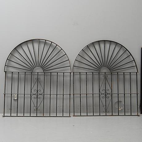 A pair of spanish iron windowgrills.