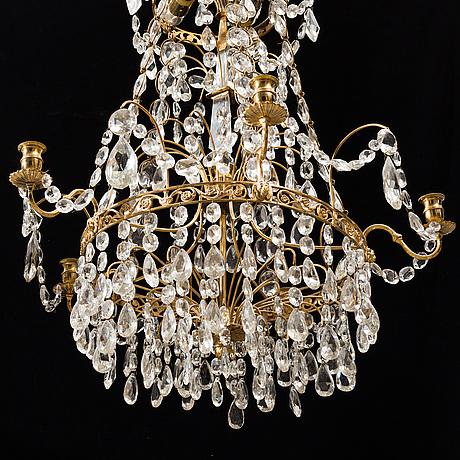 A gustavian style chandelier, mid 20th century.