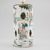 A famille rose table lamp made out of a lantern, and a teapot, dish and jar, late qing dynasty.