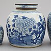 A set of three odd blue and white jars, late qing dynasty, 19th century.