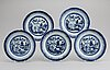 A blue and white hot water dish and five dinner plates, qing dynasty, 18/19th century.