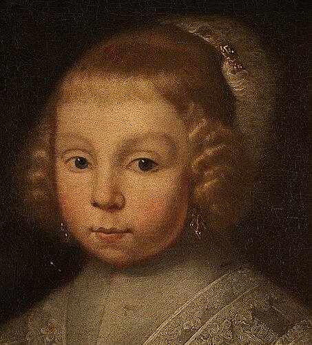 Michiel jansz. van mierevelt circle of, girl in velvet dress with lace, holding a feather.