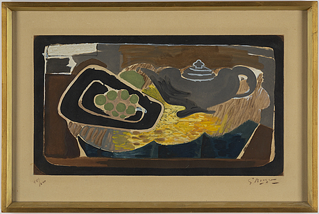 Georges braque, after, aquatint and etching, signed and numbered 55/200.