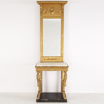 Mirror and console table.