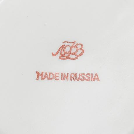 A russian porcelain tea service, lomonosov, late 20th century.