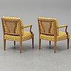 Josef frank, a pair of 969  armchairs, firma svensk tenn.