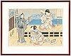 Utagawa kunisada (toyokuni iii) (1786–1864), two coloured woodblock prints, japan, 19th century.