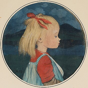 """330. Ivar Arosenius, """"Lillan"""" / """"Lillan med rött hårband i profil""""."""