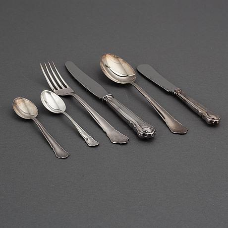 """Bstickservis, 47 delar, silver, """"chippendale"""", gab, eskilstuna och stockholm, 1941-79."""