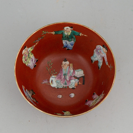 A chinese coral red bowl, 20th century.