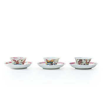 710. A set of three famille rose tea cups with stands, Qing dynasty, Yongzheng (1723-35).