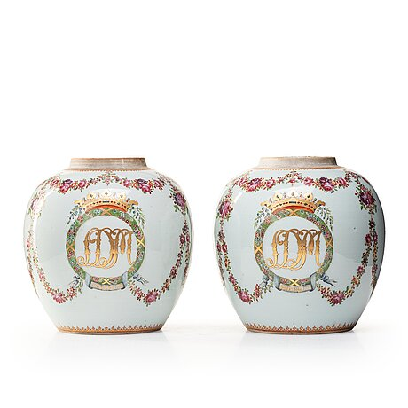 A pair of famille rose jars, qing dynasty, qianlong (1736-95).
