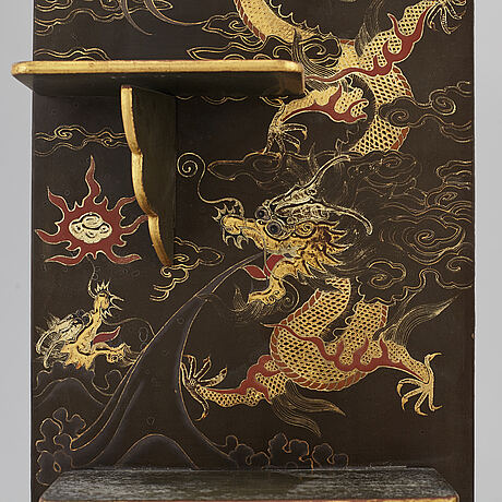 A pair of japanese lacquered and gilded shelves, meiji (1868-1912).