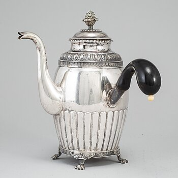 A silver coffee pot by Gustaf Folcker, Stockholm 1831.