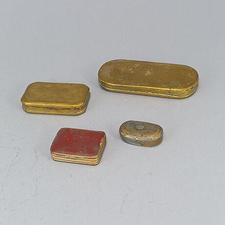 Dosor, 7 st, mässing, plåt, 1700/1800-tal.
