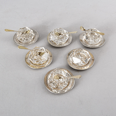 A set of six swedish silver and glass salt cellars, anders gustaf millberg stockholm  1877 & 79.