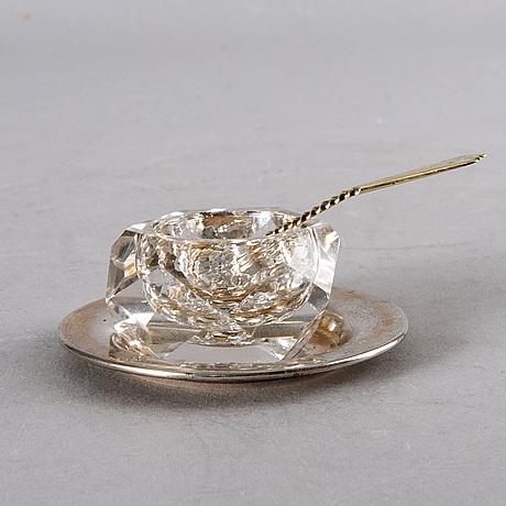 Anders gustaf millberg - saltkar, sex stycken på silverfat samt 5 skedar, stockholm 1877 & 1879.